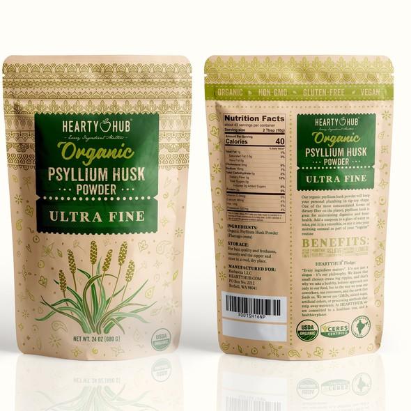 Original packaging with the title 'Organic Psyllium husk powder'
