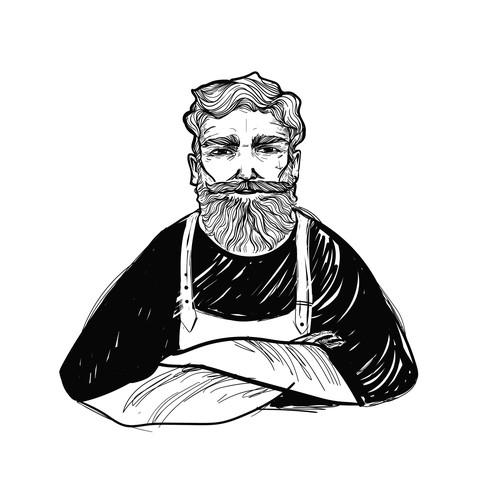 Man illustration with the title 'Charakterkopf  Sketch-Design'