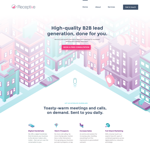 Isometric website with the title 'Website design for Lead Generation firm'