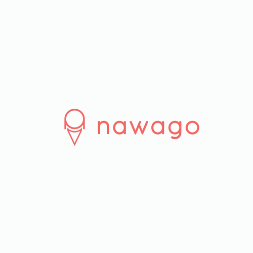 Red and white logo with the title 'Logo Concept for Nawago'