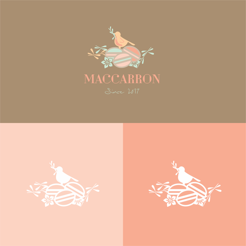 Pastel logo with the title 'Sweet concept for a macaron business'