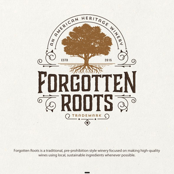 Brown logo with the title 'logo for forgotten roots'