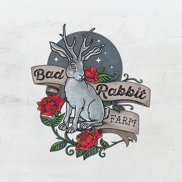 Stippling design with the title 'Traditional Tattoo inspired logo for Bad Rabbit Farm'