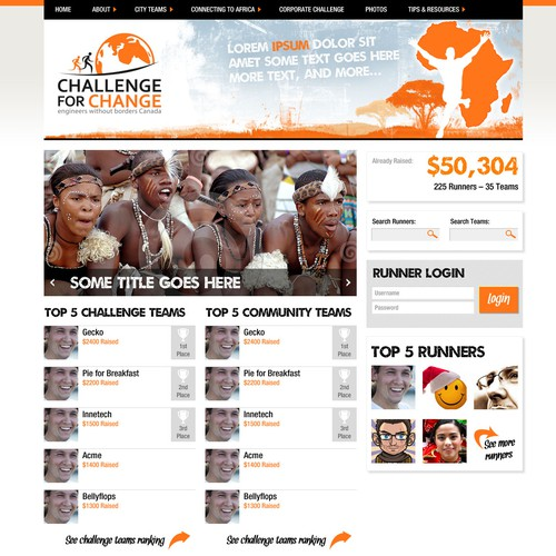 Bright website with the title 'Challenge For Change  needs a new website design'