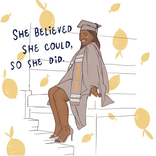 Girl power design with the title ''She believed she could, so she did''