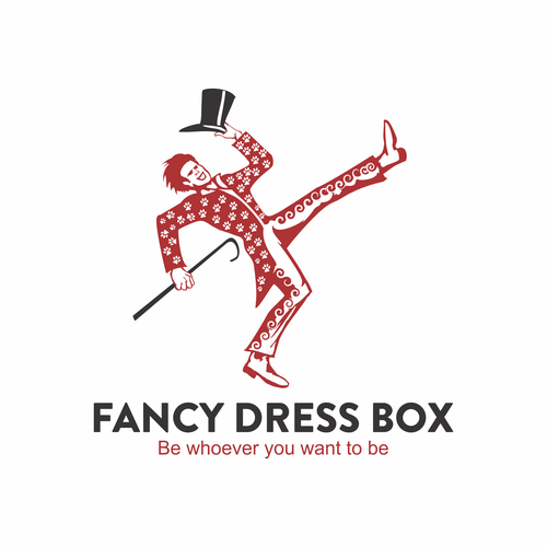 Dress logo with the title 'Fancy dress box'