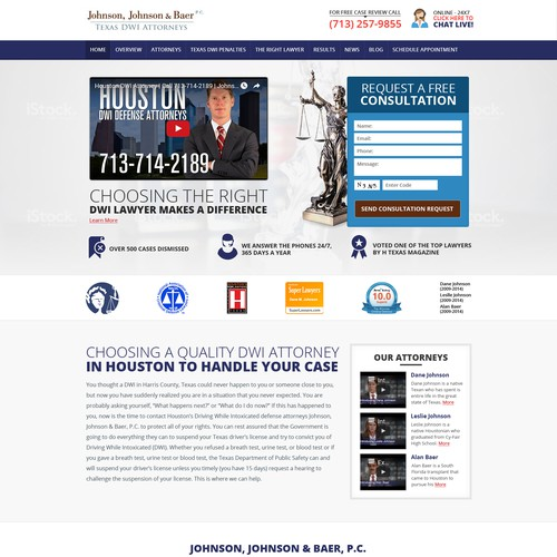 Lawyer website with the title 'Jhonson, Jhonson & Baer texas DWi Attorneys Website Designing Project'