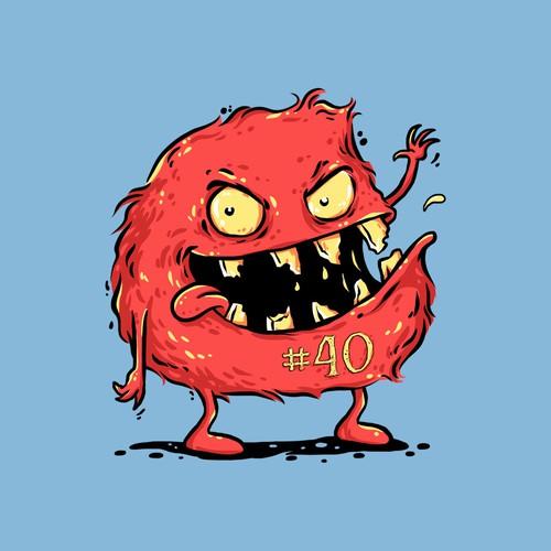 Monster illustration with the title 'Crazy food monster design concept'