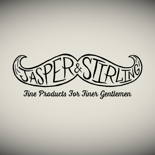Freehand logo with the title 'Hand drawn mustache logo'