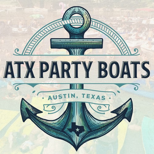 Anchor logo with the title 'ATX Party Boats'