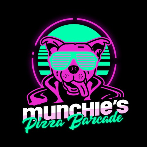 80s logo with the title 'Retro Design for a Pizza Barcade'