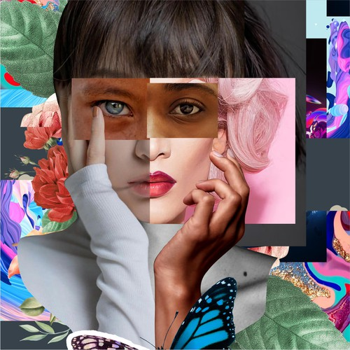 Person illustration with the title 'Collages photo concept for mural'