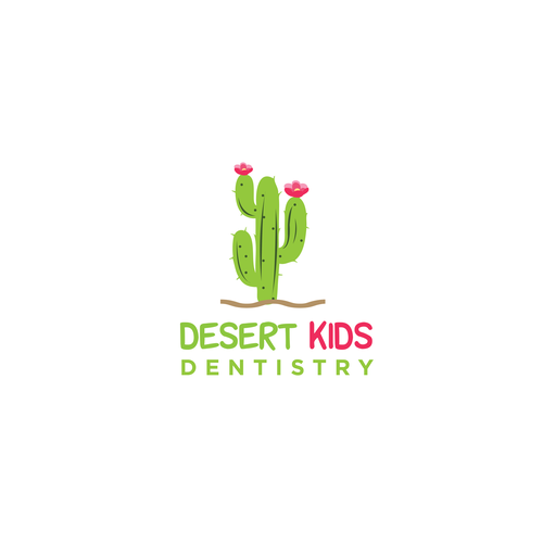 Green and pink logo with the title 'Design a recognizable logo for a new kids dental office.'
