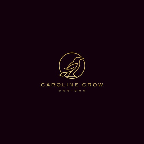 Purple and red logo with the title 'Caroline Crow Designs'