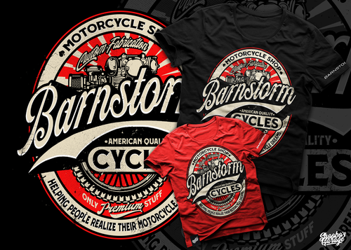Motorcycle t-shirt with the title 'Barnstorm '