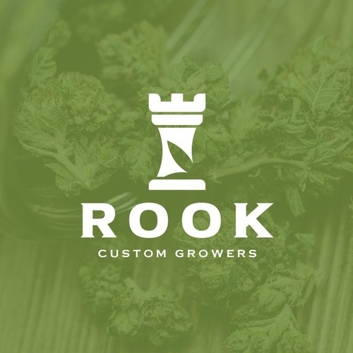 Subtle logo with the title 'Bold Modern Logo with a classic feel for Rook Custom Growers, a Cannabis Producer'