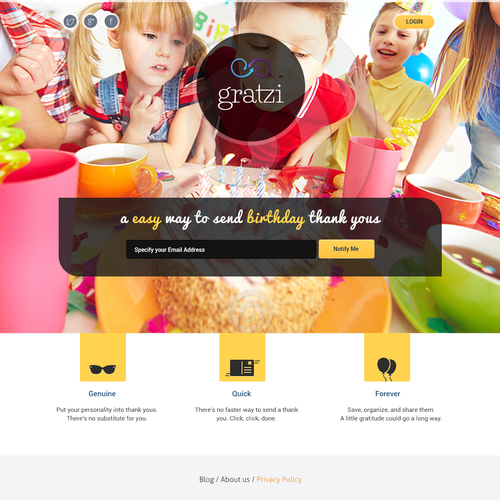 Coming soon design with the title 'Gratzi Landing page'