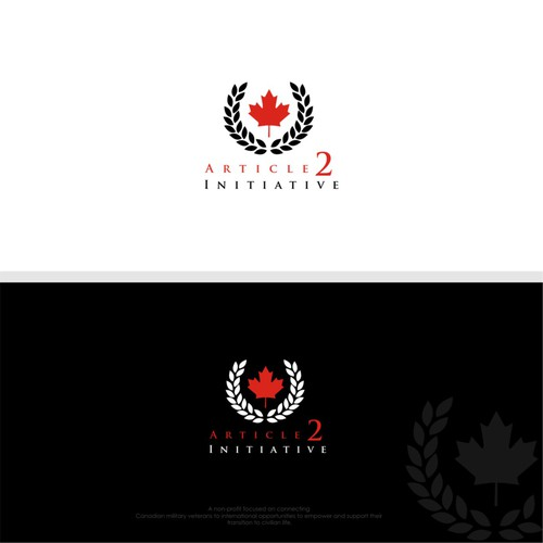 Canadian leaf logo with the title 'Help us get our non-profit for military veterans going!'