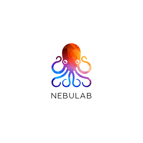 Octopus logo with the title 'Origami rainbow colored logo for Nebulab'