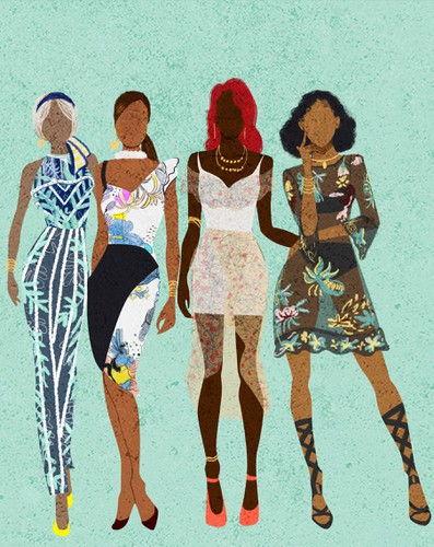 African illustration with the title 'Black Woman and Friends Illustration'