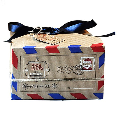 Christmas packaging with the title 'Santa Claus Delivery Gift Box.'