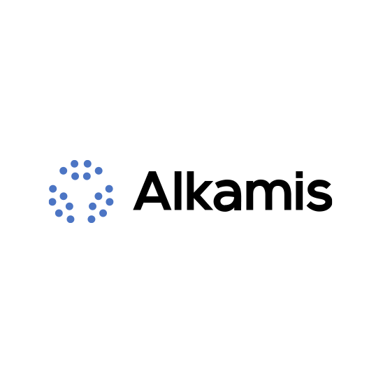 Blue and black design with the title 'Alkamis Logo Development'