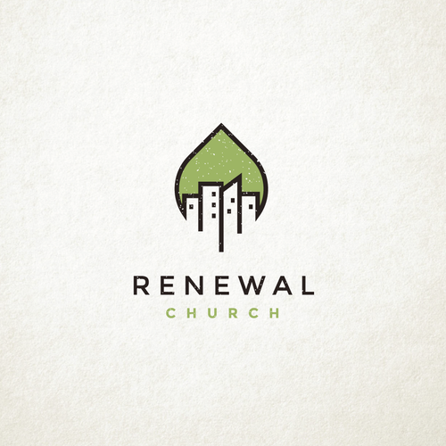 Skyline design with the title 'Renewal Church'