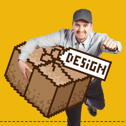 Graphic illustration artwork with the title 'Pixel art and graphic design for 99designs'