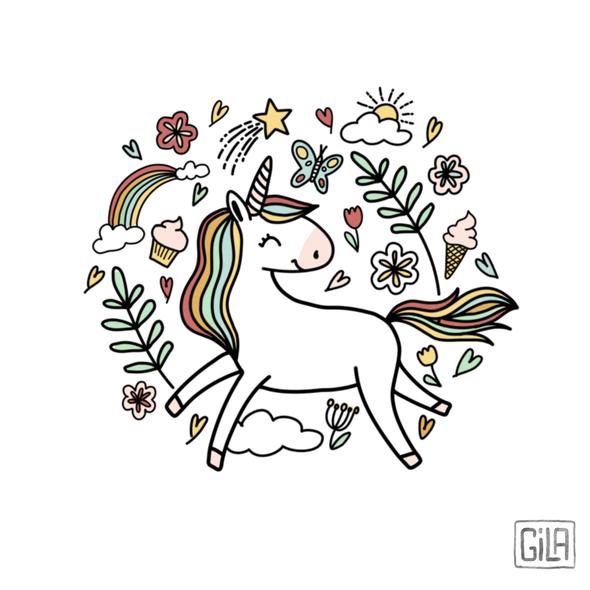 Handmade illustration with the title 'Unicorn pattern'