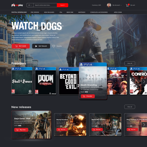 Game website with the title 'Gaming Store'