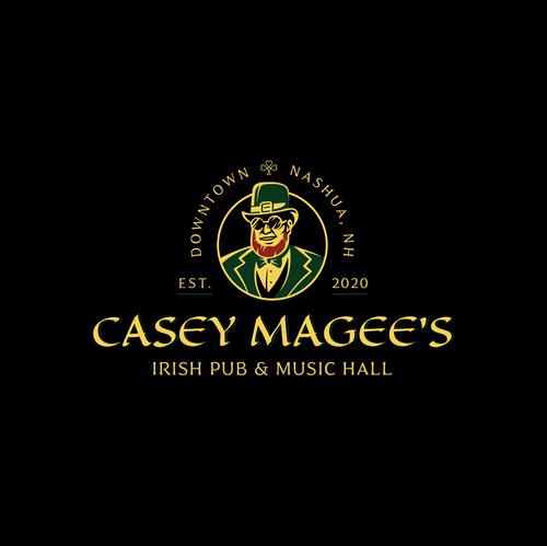 Irish design with the title 'CASEY MAGEE'S Irish Pub & Music Hall'