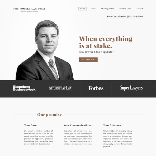 Attorney website with the title 'Attorney landing page'