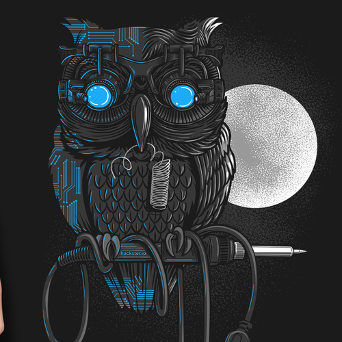 Owl design with the title ' BEST T-SHIRT DESIGN FOR HACKSTER.IO'