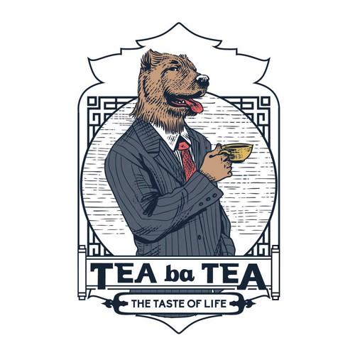 Label logo with the title 'Logo design for Tea ba Tea'