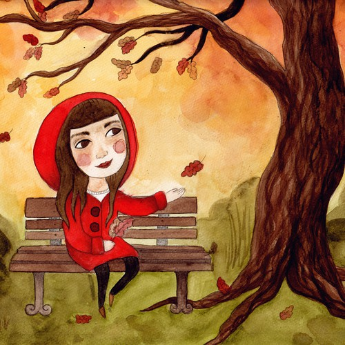 Fall design with the title 'Autumn Leaves Illustration'
