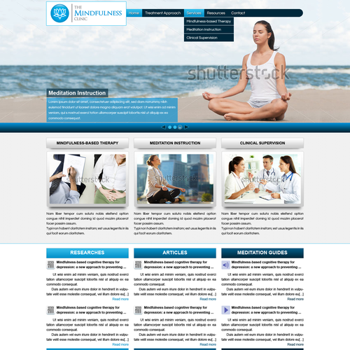 Therapy website with the title 'Mindfulness-based therapy clinic needs engaging and dynamic redesign. '
