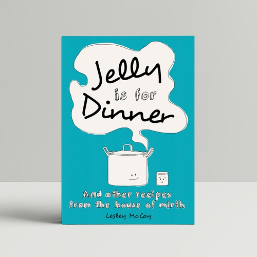 Happy book cover with the title 'Book cover for a not so serious happy/light cooking book'