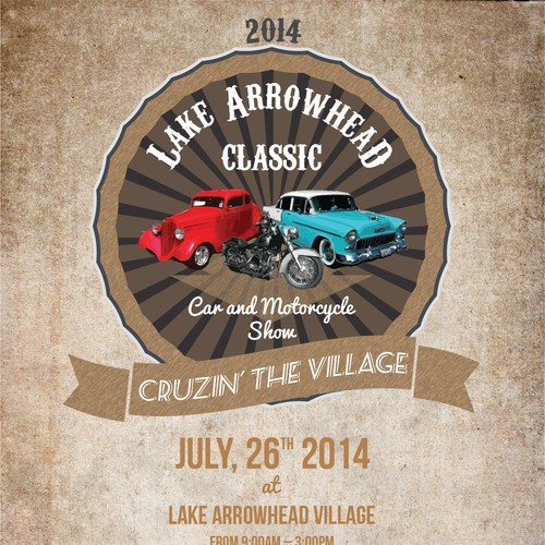 Arrowhead design with the title 'Lake Arrowhead Classic Car Show Flyer Contest'