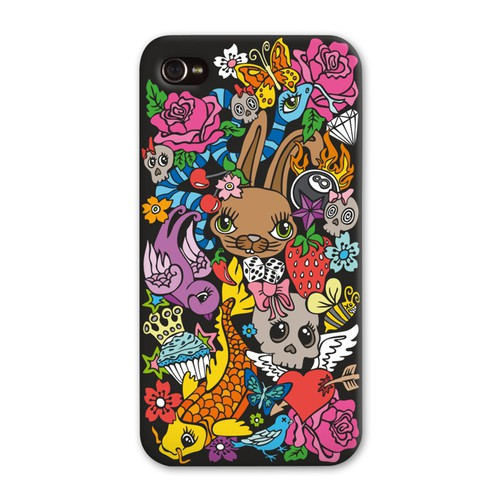 Doodle design with the title 'Create Galaxy 4/5 & iPhone 5s case designs!'