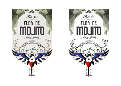 Bird label with the title 'Create a bottle label for a trendy authentic natural syrup used to prepare Mojitos!'