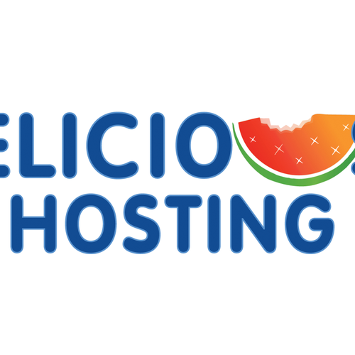 Watermelon logo with the title 'Fun logo for new web hosting business'