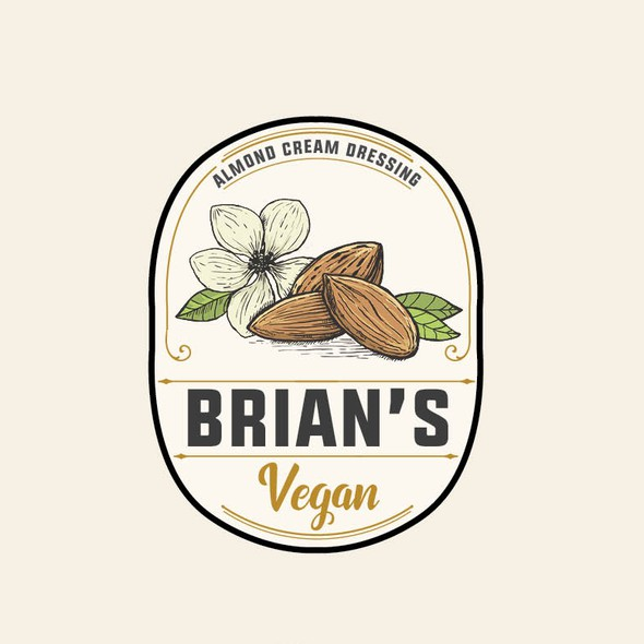 Almond logo with the title 'Brian's Vegan'