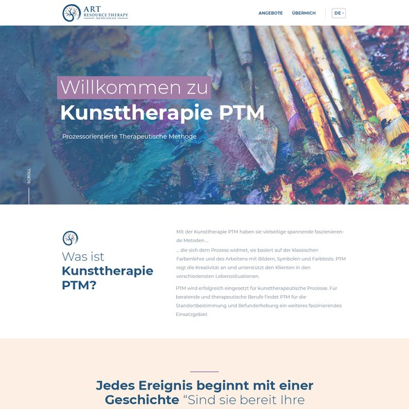 Artistic website with the title 'Kunsttherapie PTM'