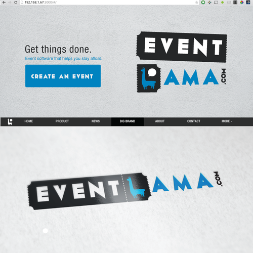 Ticket logo with the title 'EventLama'