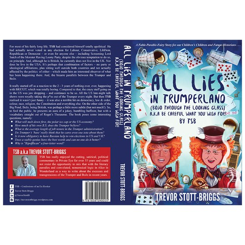 Alice in Wonderland design with the title 'All Lies in Trumperland'