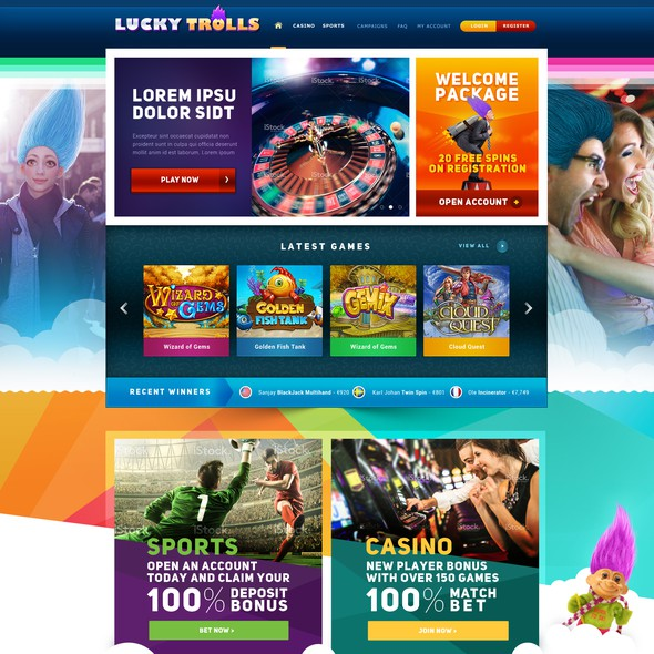 Casino website with the title 'New Webdesign for Online Casino games'