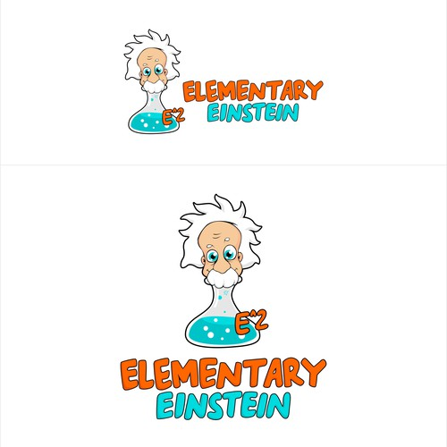 Sticker and decal logo with the title 'Mascot logo concept for Elementary Einstein'