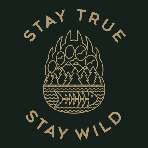 Line art t-shirt with the title 'STAY TRUE STAY WILD'