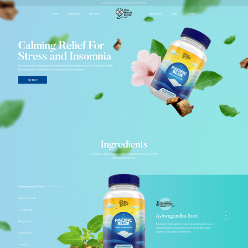 Supplement design with the title 'Stress Relief Supplements'