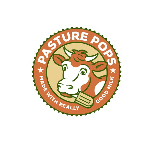 Popsicle logo with the title 'Pasture Pops Logo'